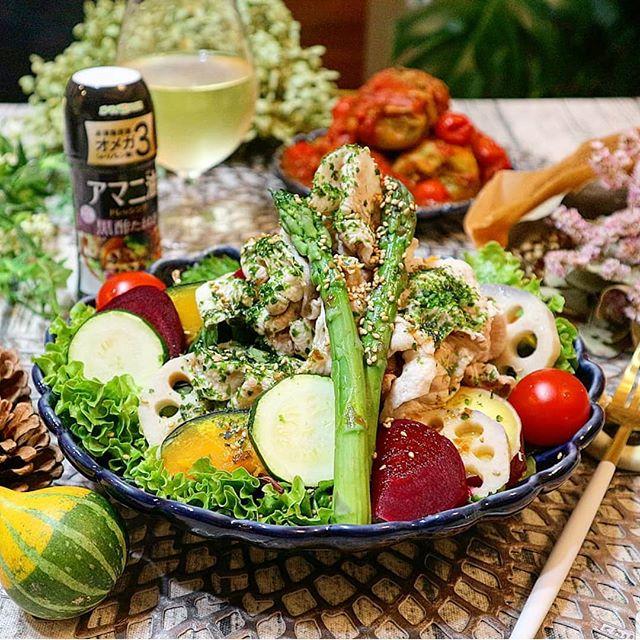 数種類の野菜で。美味しい豚しゃぶサラダ
