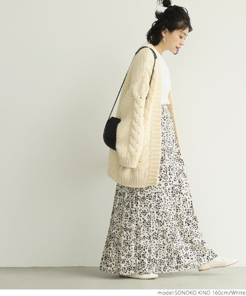 [coca] レオパード柄ロング丈プリーツスカート