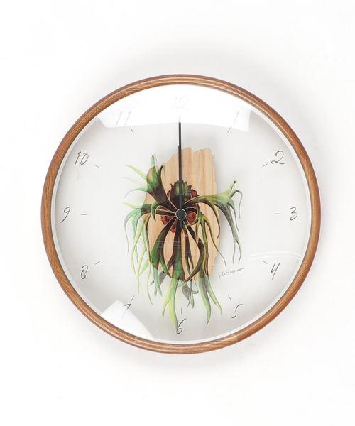 観葉植物が描かれたおしゃれな壁掛け時計