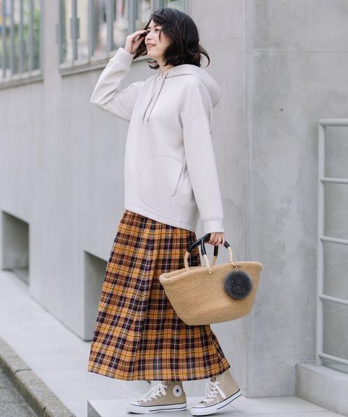 [Munich] イタリータータンチェックギャザースカート