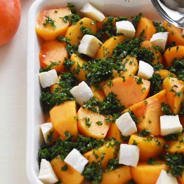 手作りレシピ。完熟柿とパセリのマリネ