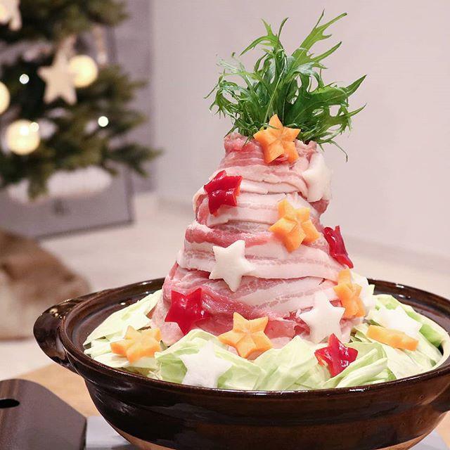 豪華に見える料理に。肉タワー鍋