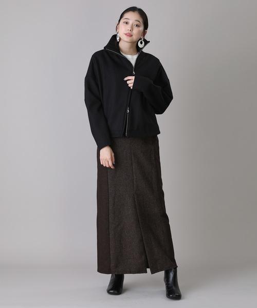 スタンドカラーブルゾン×ツイードスカート