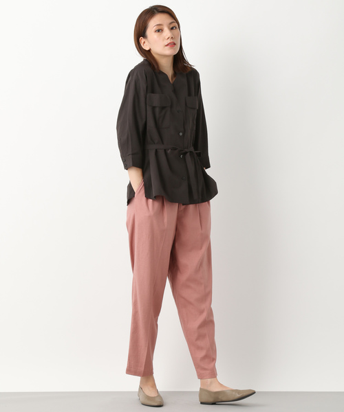[LEPSIM] ノーカラーミリタリーシャツ 842380