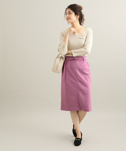[ViS] 【MACHINE WASHABLE】 エコスエードタイトスカート