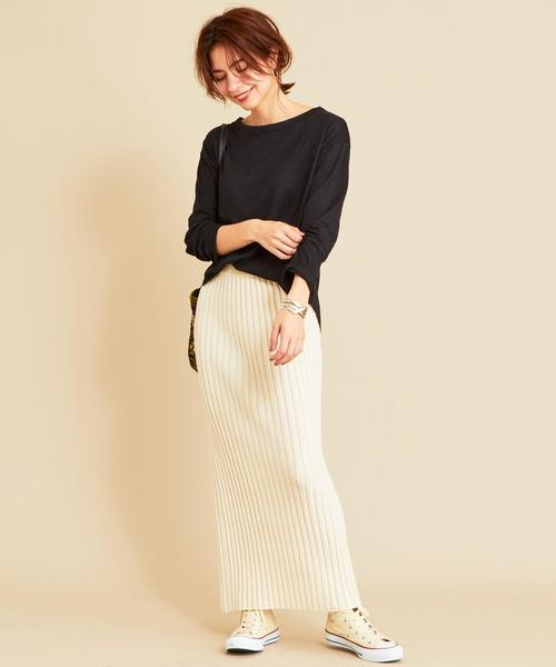 [BEAUTY&YOUTH UNITED ARROWS] 【WEB限定】by ※∴ボートネックドロップスリーブロングTシャツ