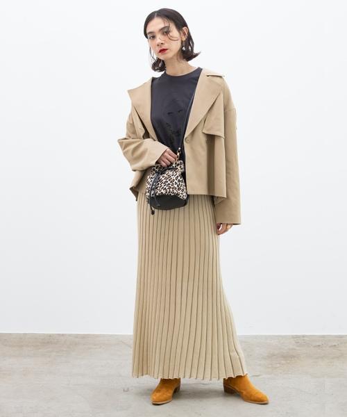 [ROPE'] ラメニットプリーツスカート