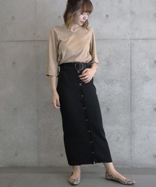 [Ifuru] ランダムリブ前開きスカート
