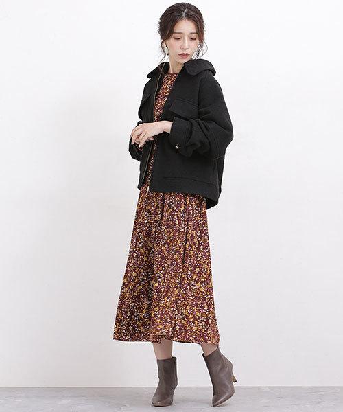 大阪|12月服装|花柄ワンピースコーデ