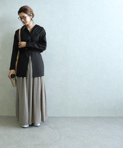 [reca] 紐付きミドル丈シャツ