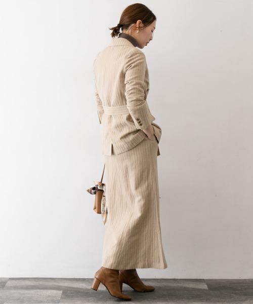 ヘリンボンジャケット×ロングスカート