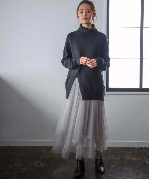 [GeeRA] 【新色追加】フレアーチュールロングスカート