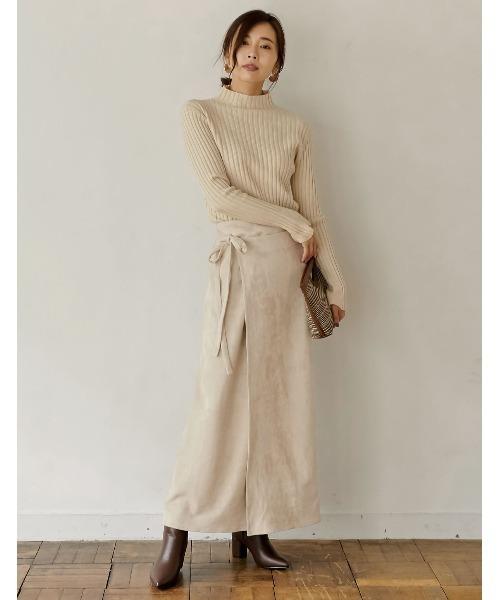 [Re:EDIT] [低身長向けSサイズ対応]セミタイトラップ風マキシスカート