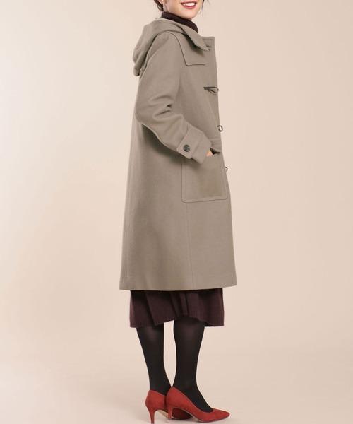 ロングダッフルコートの服装