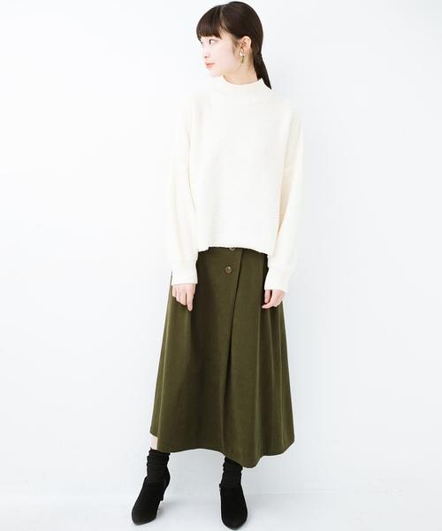 [haco!] 楽ちんなのにきれい見せが叶う ボタンがポイントの大人スカート