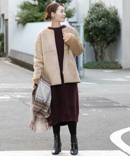 気温の低い日も安心◎コート×ワンピの服装
