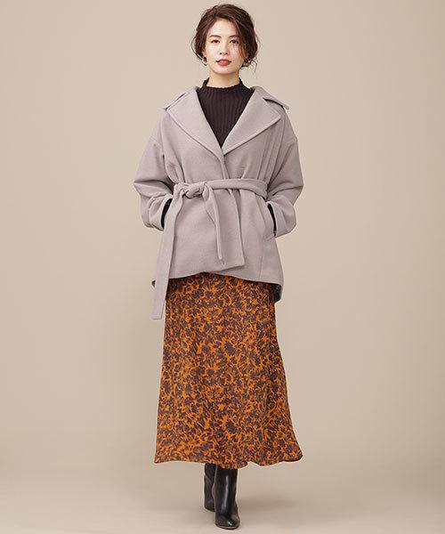 レディースミドルコート×花柄ロングスカート