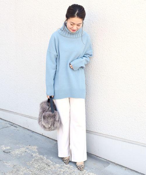 大阪|12月服装|ブルーニットコーデ