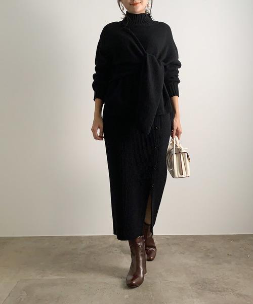 [ROPE'] 【セットアップ対応】スリットリブニットスカート