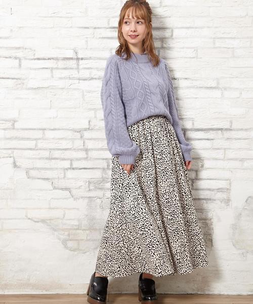 [INGNI] 単色レオパード柄ギャザー/スカート