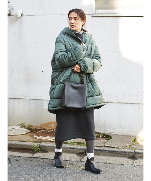 グリーン中綿コート×タイトスカート