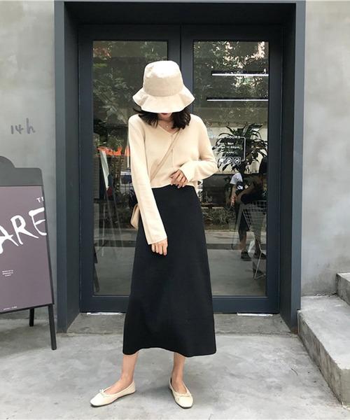 [Mayree] 【Mayree】シンプルデザイン Aラインニットスカート