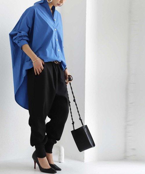 [antiqua] 【ZOZO限定】裾リブテーパードパンツ スッキリ華奢見せ。リブの効いた上級者パンツ。