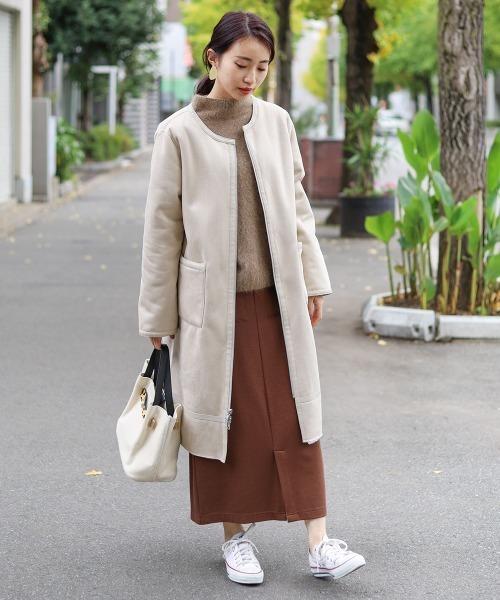 ロングムートンコート×Iラインスカート