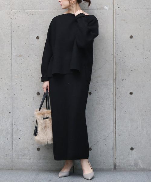 [Liesse] 圧縮ニットゆるタイトスカート