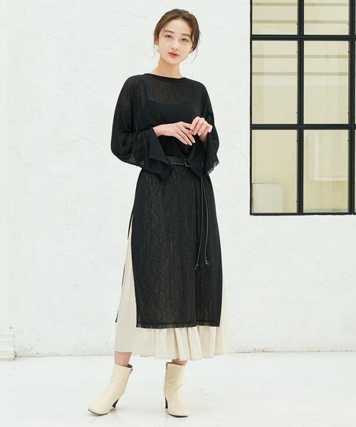 [ViS] 【WEB限定】シアー袖スリットワンピース