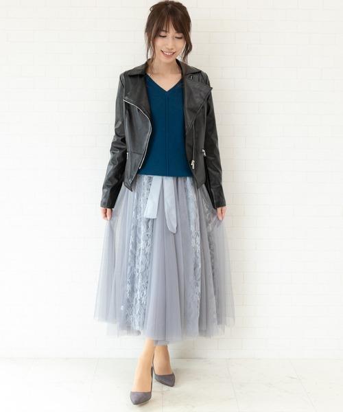 [Jewelobe] チュール×レースフレアースカート