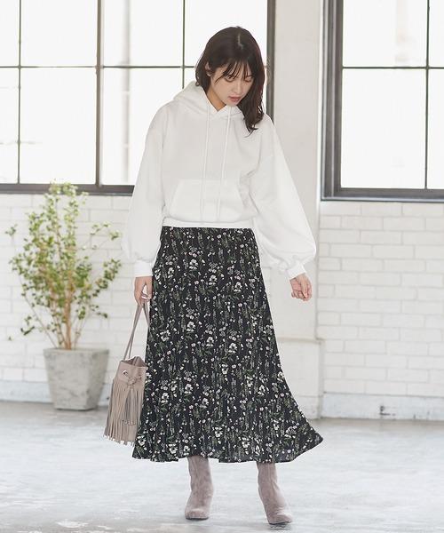 [kobelettuce] ギンガムチェック柄・フラワー柄インタックフレアマーメイドスカート