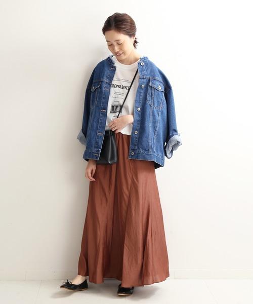 [IENA] ワッシャーサテンスカート【手洗い可能/ウエストゴム】◆