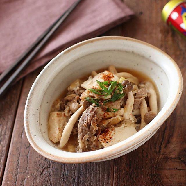 キノコをたくさん使ったレシピ。牛豆腐