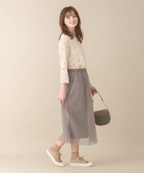 [An3pocket] 【ポケット付き】着丈選べる!チュールプリーツスカート