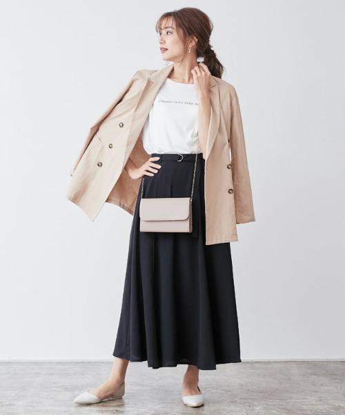 [Pierrot] ベルト付きフレアスカート