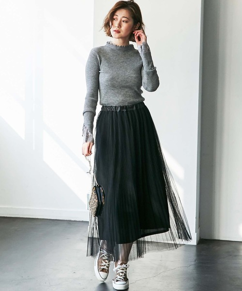 [GeeRA] 【WEB限定】チュールプリーツロングスカート