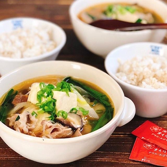 野菜たっぷり!豚肉と豆腐のピリ辛スープ