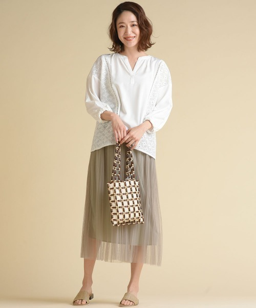 [MAYSON GREY] 【socolla】チュール消しプリーツスカート