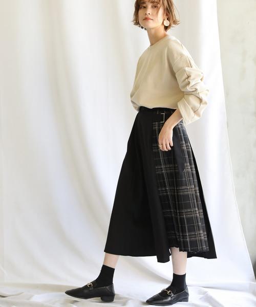 [select MOCA] 【ZOZO限定アイテム】チェックプリーツ切替スカート/ウエストゴム入りベルトデザインミモレ丈ツイルプリーツスカート
