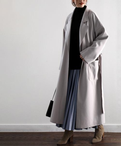 ロングコート×ブルースカート