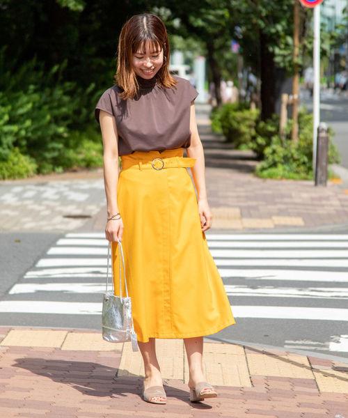 [NOLLEY'S] 麻混ツイルベルト付きフレアスカート