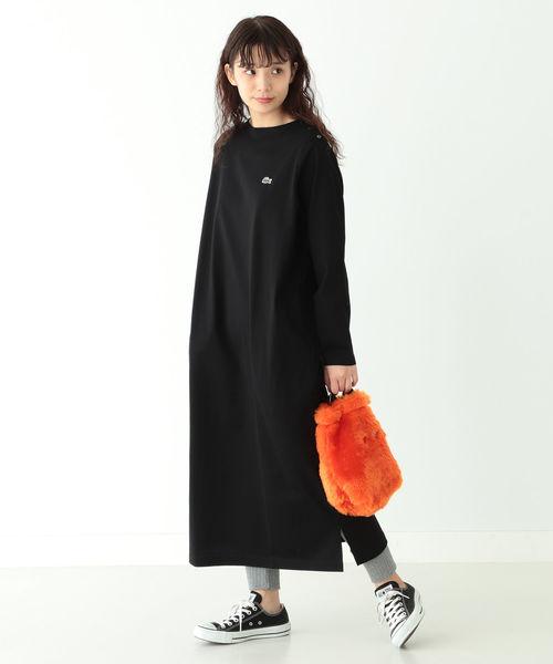 [BEAMS WOMEN] LACOSTE × BEAMS BOY / 別注 ボートネック ドレス
