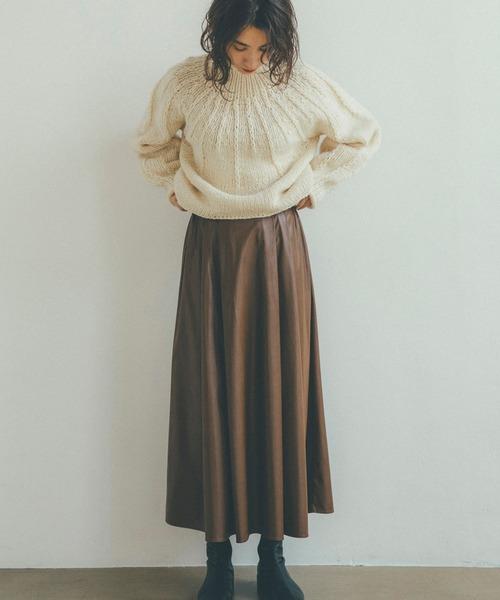 [LANDWARDS] 【Audrey and John Wad】エコレザータック&フレアロングスカート