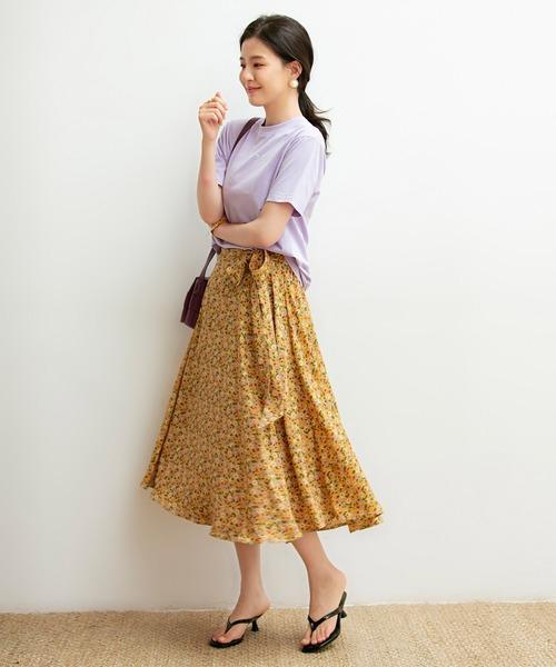 [SAISON DE PAPILLON] サイドリボン付き花柄スカート