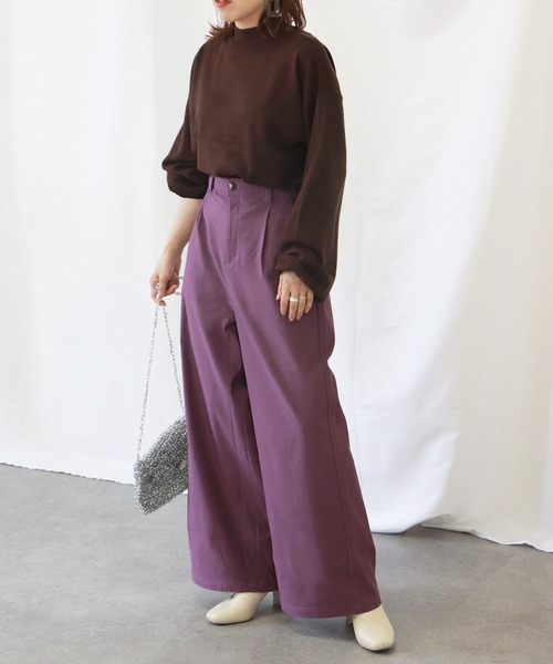 [kana] ストレッチ フレア ワイドパンツ
