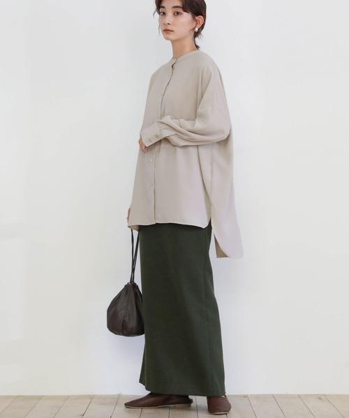 [select MOCA] 2020 A/W バックスリットリボンシャツ/スタンドカラーオーバーサイズバックデザインシャツ