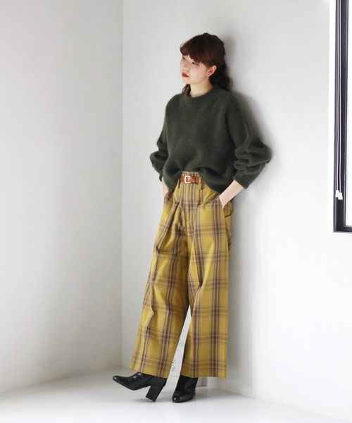 [DRESSLAVE] B7 / tartan check wide pants(タータンチェック柄ワイドパンツ)