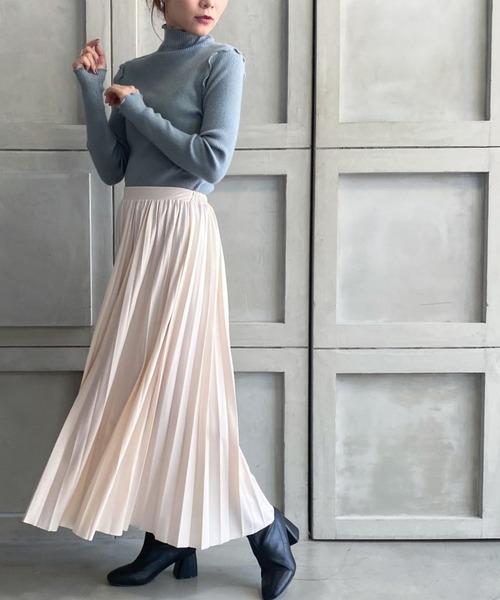 [moment+] エコレザープリーツスカート