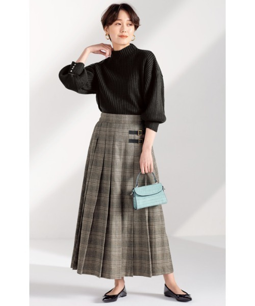 [GeeRA] 【インスタグラマーてらさん着用】合皮ベルトデザインプリーツスカート